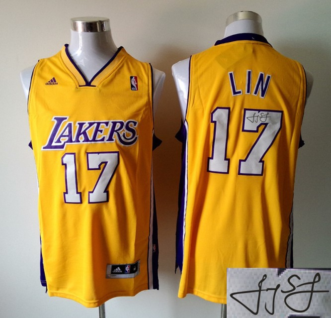 Lakers 17 Lin Gold Signature Edition Jerseys