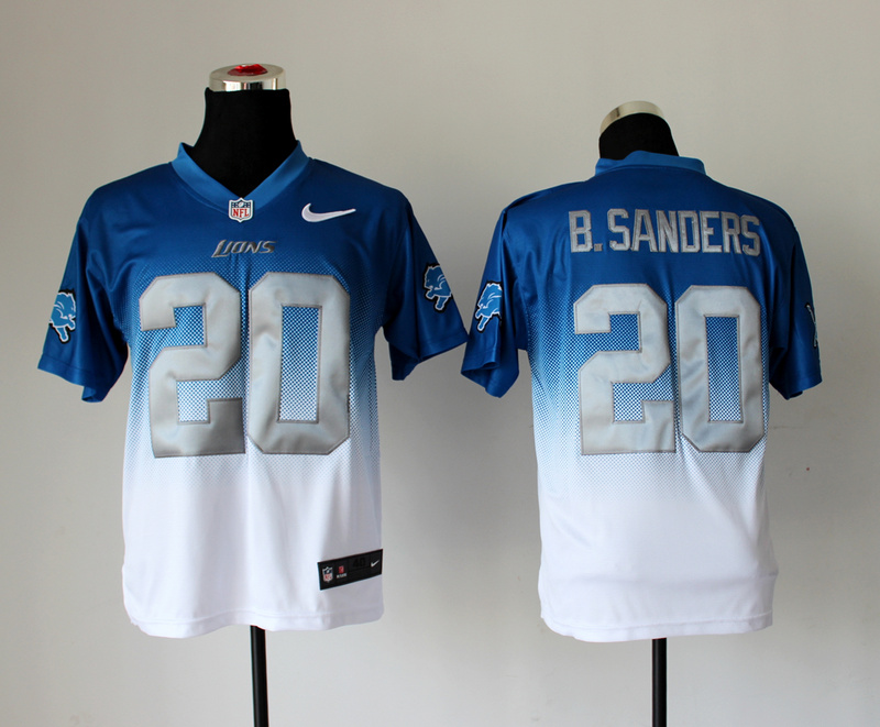 Nike Lions 20 B.Sanders Blue And White Drift Fashion II Elite Jerseys