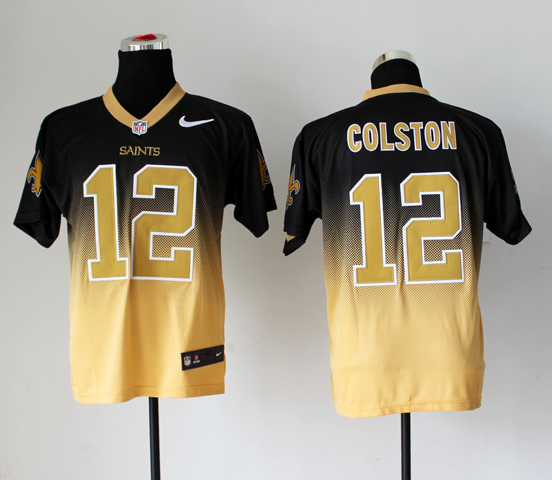 Nike Saints 12 Colston Black And Gold Drift Fashion II Elite Jerseys