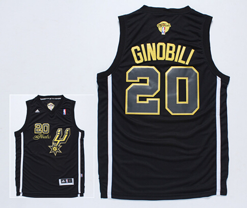 Spurs 20 Ginobili Black 2014 NBA Finals Jerseys