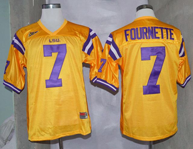 LSU Tigers 7 Fournette Yellow College Jerseys