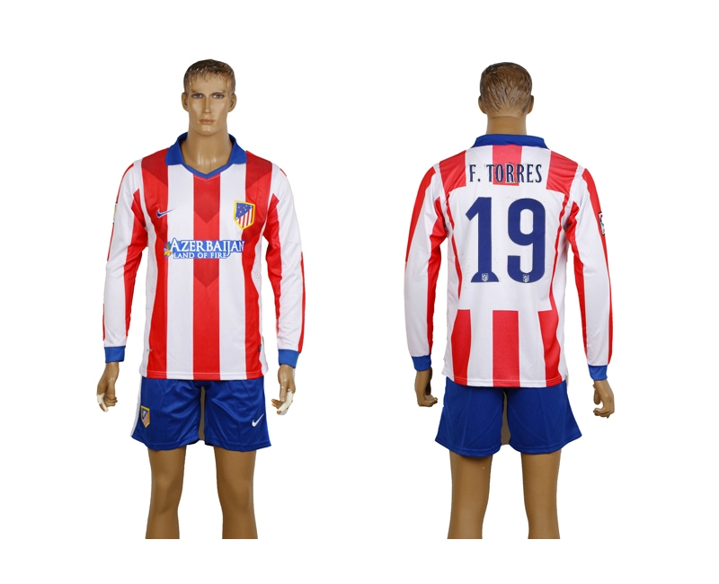 2014-15 Atletico Madrid 19 F.Torres Home Long Sleeve Jerseys