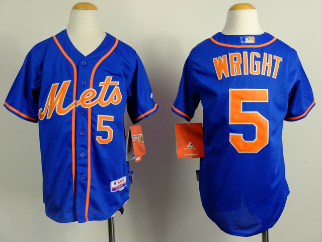 Mets 5 Wright Blue Youth Jersey