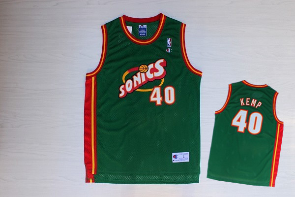 Supersonics 40 Kemp Green New Revolution 30 Jerseys