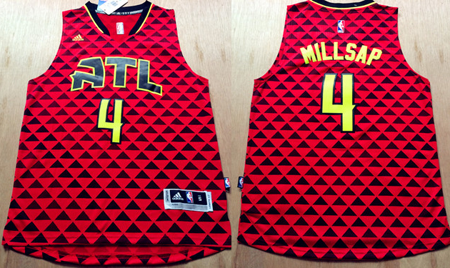 Hawks 4 Paul Millsap Red Swingman Jersey