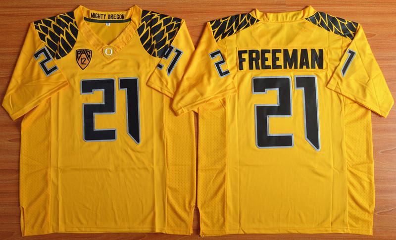 Oregon Ducks 21 Royce Freeman Yellow College Jersey