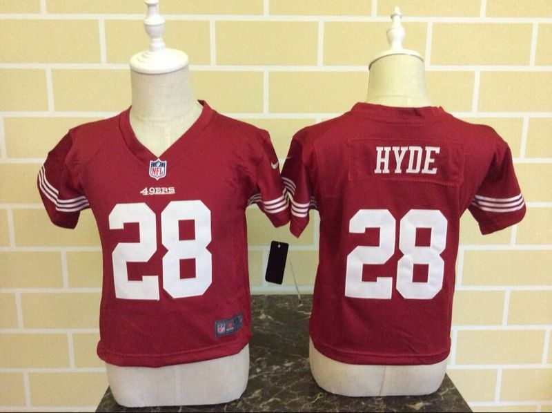 Nike 49ers 28 Carlos Hyde Red Toddler Game Jersey