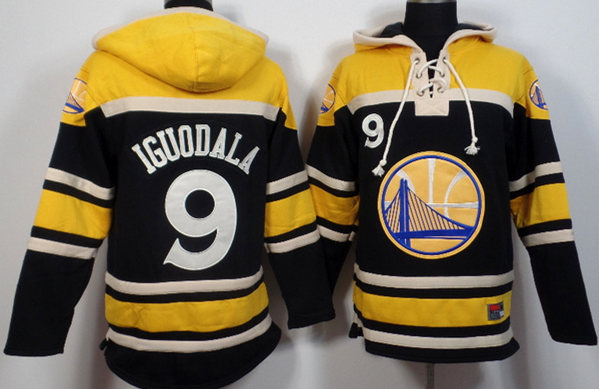 Warriors 9 Andre Iguodala Black All Stitched Hooded Sweatshirt