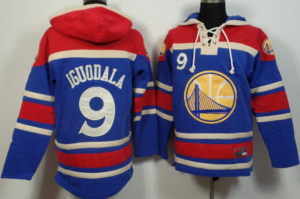 Warriors 9 Andre Iguodala Blue All Stitched Hooded Sweatshirt