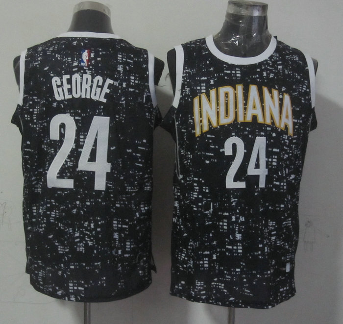Pacers 24 Paul George Black City Luminous Jersey