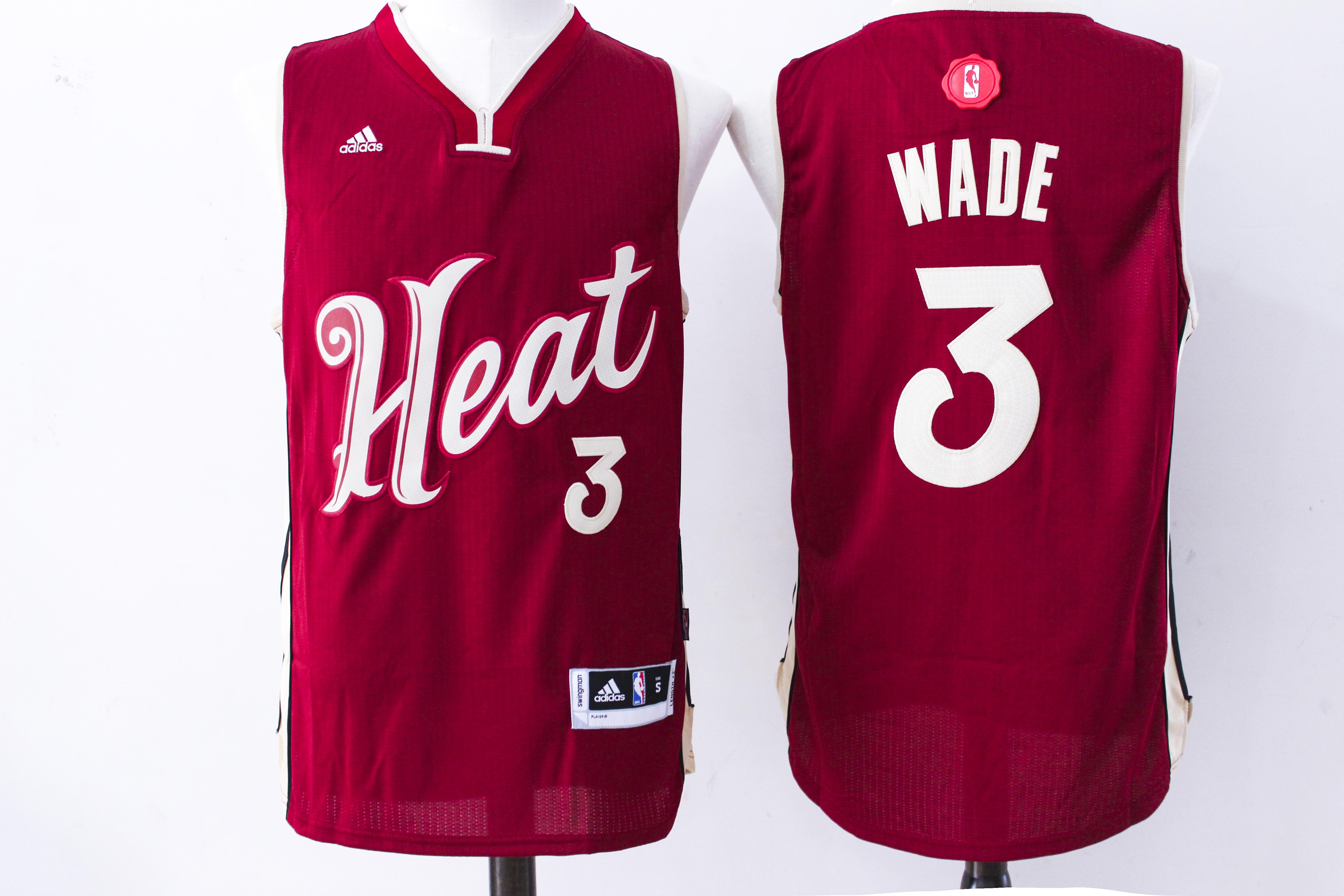 Heat 3 Dwyane Wade Red 2015-16 Christmas Day Swingman Jersey