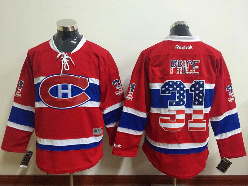 Canadiens 31 Carey Price Red USA Flag Reebok Jersey