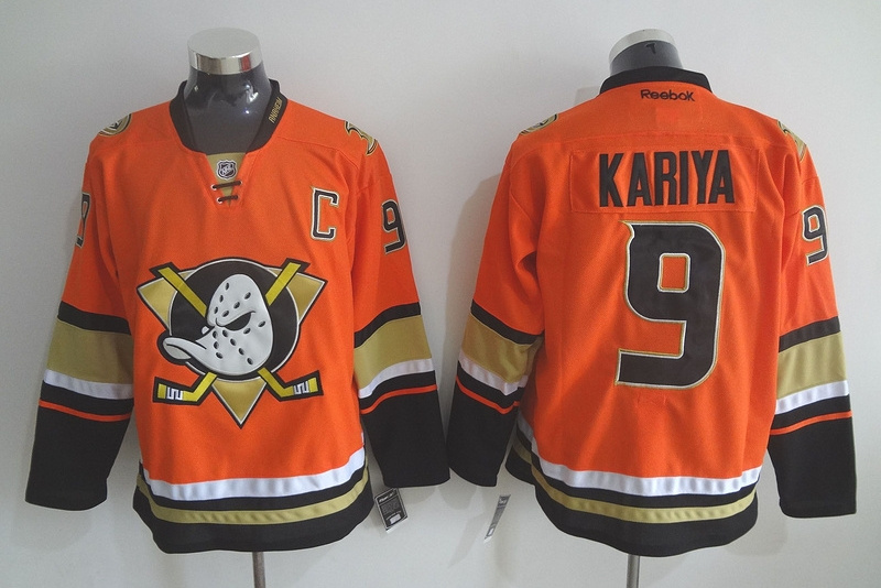 Ducks 9 Paul Kariya Orange Reebok Jersey