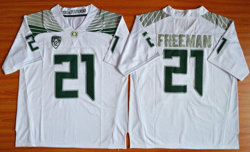 Oregon Ducks 21 Royce Freeman White College Jersey
