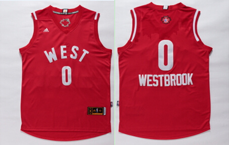 2016 NBA All Star West 0 Russell Westbrook Red Jersey