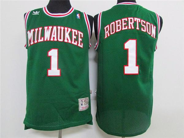 Bucks 1 Oscar Robertson Green Hardwood Classics Jersey