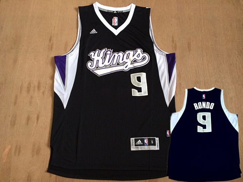 Kings 9 Rajon Rondo Black Swingman Jersey