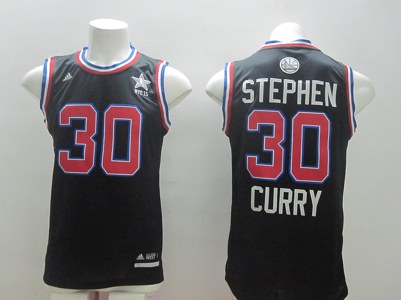 2015 NBA All Star NYC Western Conference 30 Stephen Curry Black Jerseys