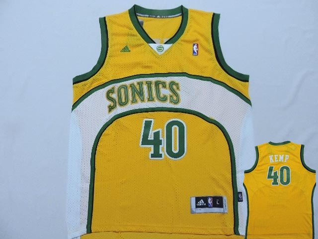 Supersonics 40 Kemp Yellow New Revolution 30 Jerseys