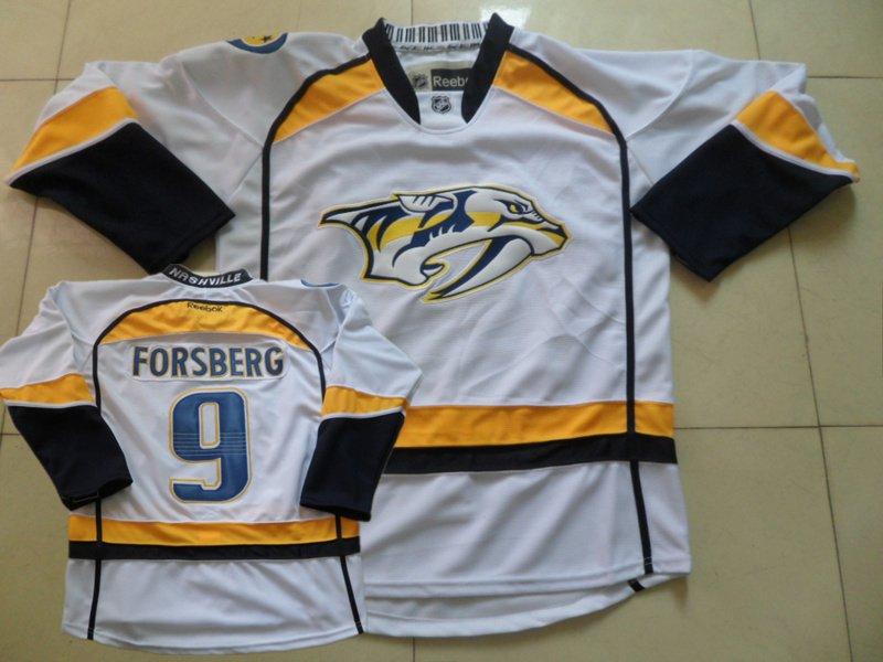 Predators 9 Forsberg White Reebok Jersey