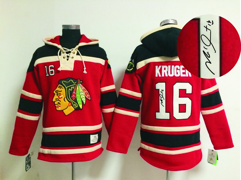 Blackhawks 16 Kruger Red Signature Edition Hooded Jerseys