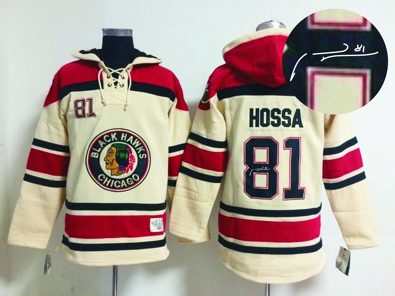 Blackhawks 81 Hossa Cream Old Times Signature Edition Hooded Jerseys