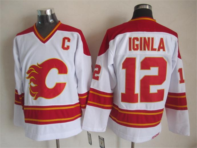 Flames 12 Iginla White CCM Jerseys
