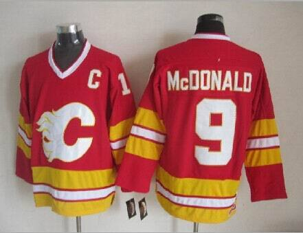 Flames 9 McDonald Red CCM Jerseys