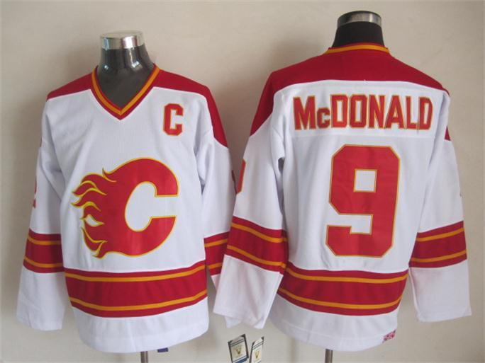 Flames 9 McDonald White CCM Jerseys