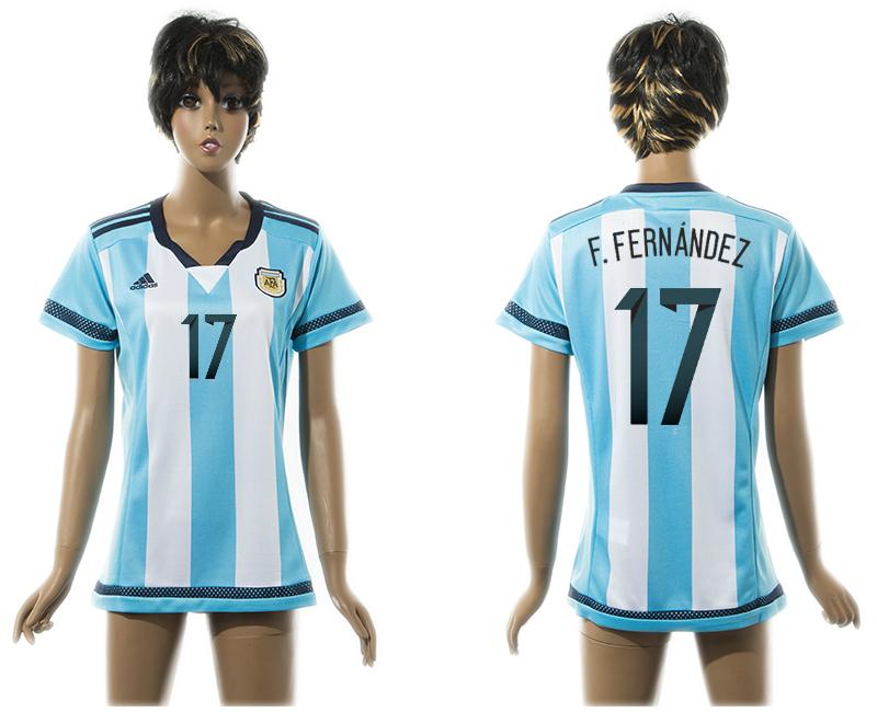 2015-16 Argentina 17 F.FERNANDEZ Home Women Thailand Jersey
