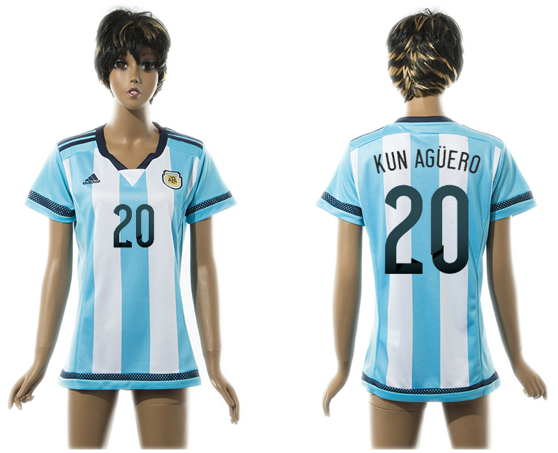 2015-16 Argentina 20 KUN AGUERO Home Women Thailand Jersey