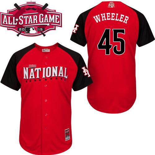 National League Mets 45 Wheeler Red 2015 All Star Jersey