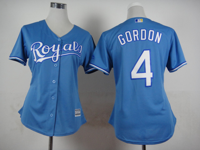 Royals 4 Gordon Light Blue New Cool Base Women Jersey