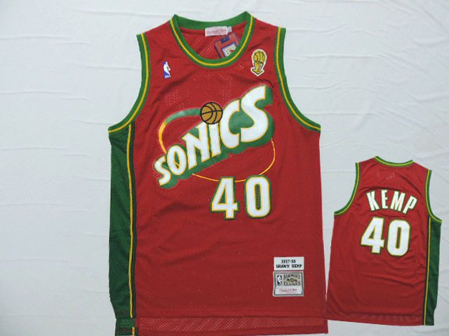 Supersonics 40 Shawn Kemp Red Hardwood Classics Jersey