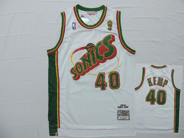 Supersonics 40 Shawn Kemp White Hardwood Classics Jersey
