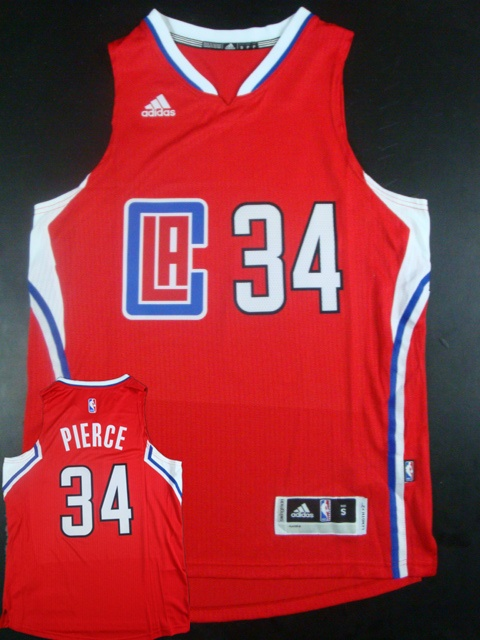 Clippers 34 Paul Pierce Red 2015 New Rev 30 Jersey (hot printed)