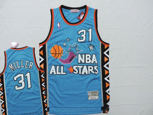 1996 All Star 31 Reggie Miller Teal Hardwood Classics Jersey