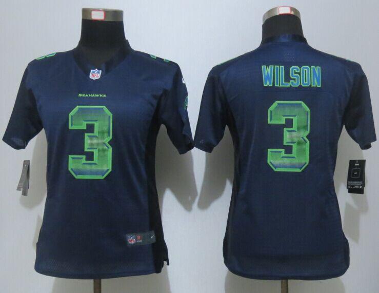 Nike Seahawks 3 Russell Wilson Blue Pro Line Fashion Strobe Women Jersey