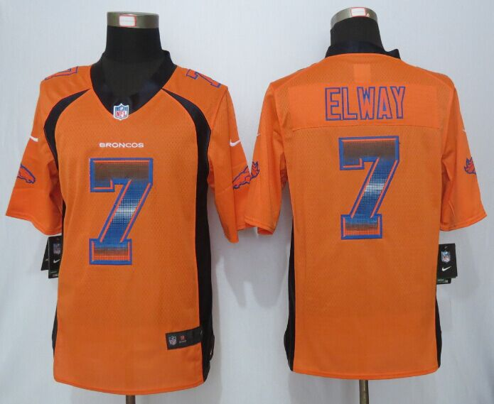 Nike Broncos 7 John Elway Orange Pro Line Fashion Strobe Jersey