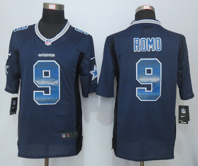 Nike Cowboys 9 Tony Romo Blue Pro Line Fashion Strobe Jersey