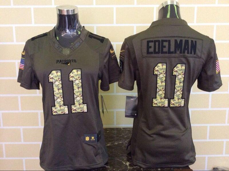 Nike Patriots 11 Julian Edelman Green Salute To Service Women Limited Jersey