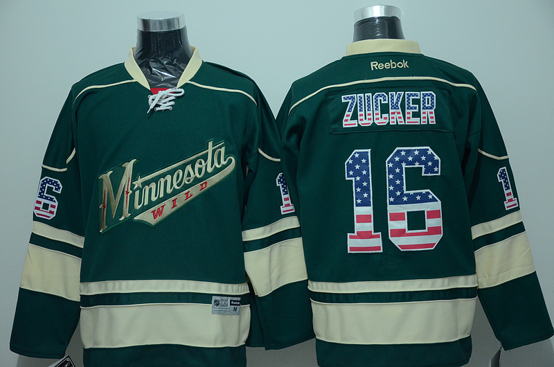 Wild 16 Jason Zucker Green US Flag Reebok Jersey