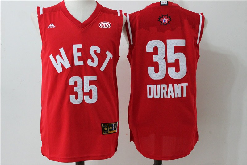 Thunder 35 Kevin Durant Red 2016 NBA All Star West Jersey