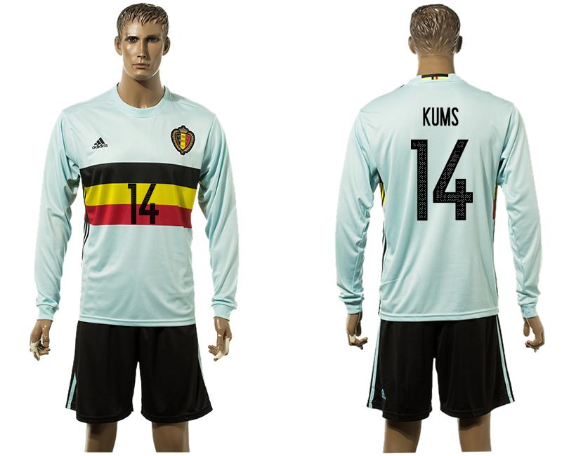 Belgium 14 KUMS Away UEFA Euro 2016 Long Sleeve Jersey