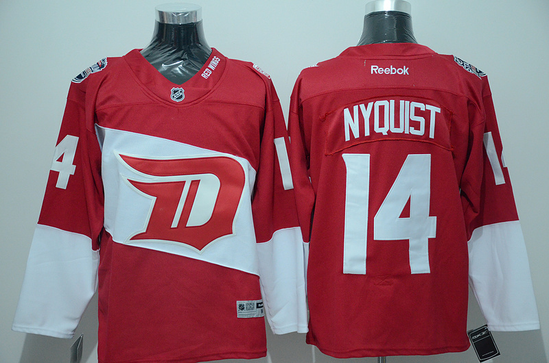 Red Wings 14 Gustav Nyquist Red 2016 Stadium Series Reebok Jersey