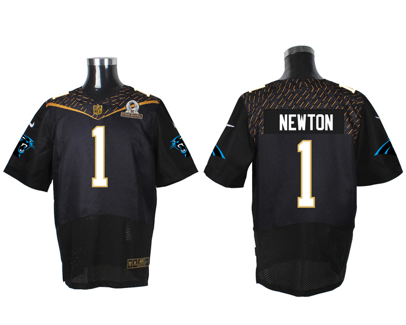 Nike Panthers 1 Cam Newton Black 2016 Pro Bowl Elite Jersey