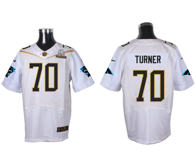 Nike Panthers 70 Trai Turner White 2016 Pro Bowl Elite Jersey