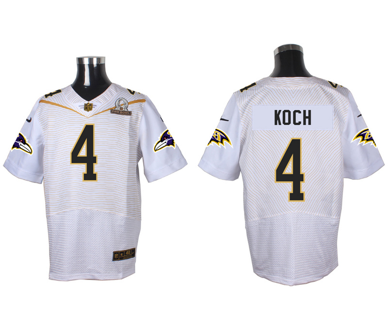 Nike Ravens 4 Sam Koch White 2016 Pro Bowl Elite Jersey