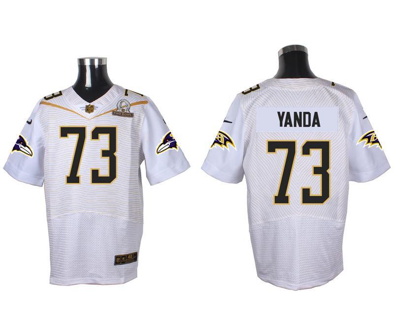 Nike Ravens 73 Marsha Yanda White 2016 Pro Bowl Elite Jersey