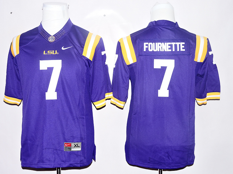 LSU Tigers 7 Leonard Fournette Purple Youth College Jersey